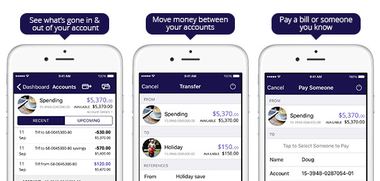 Mobile Banking screen shots of app