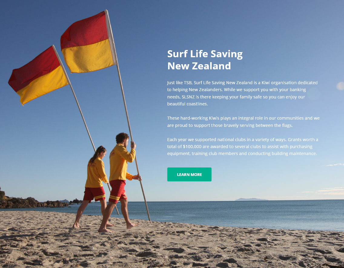 tsb partnership with surf life saving nz